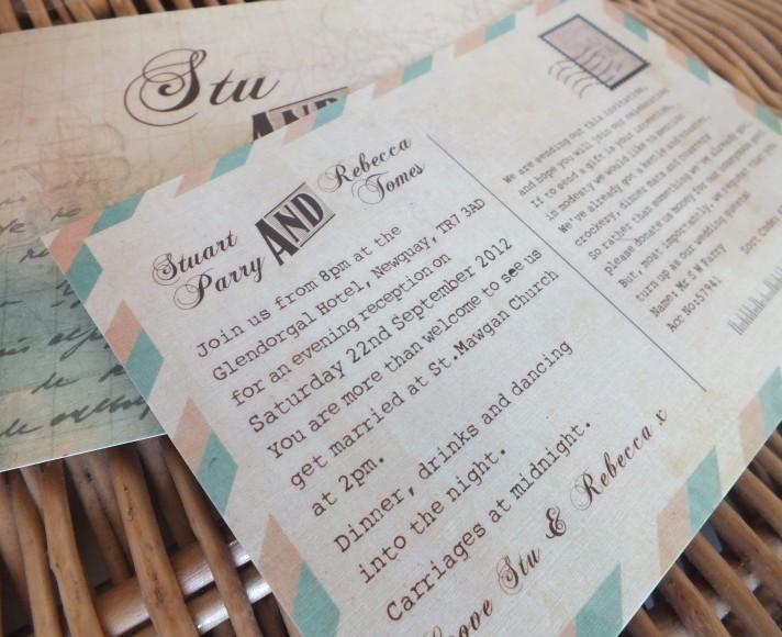 Vintage Nautical Wedding Postcard Invites