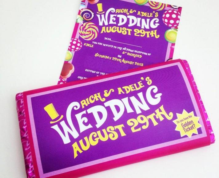 Willy Wonka Bar Wedding Invitation