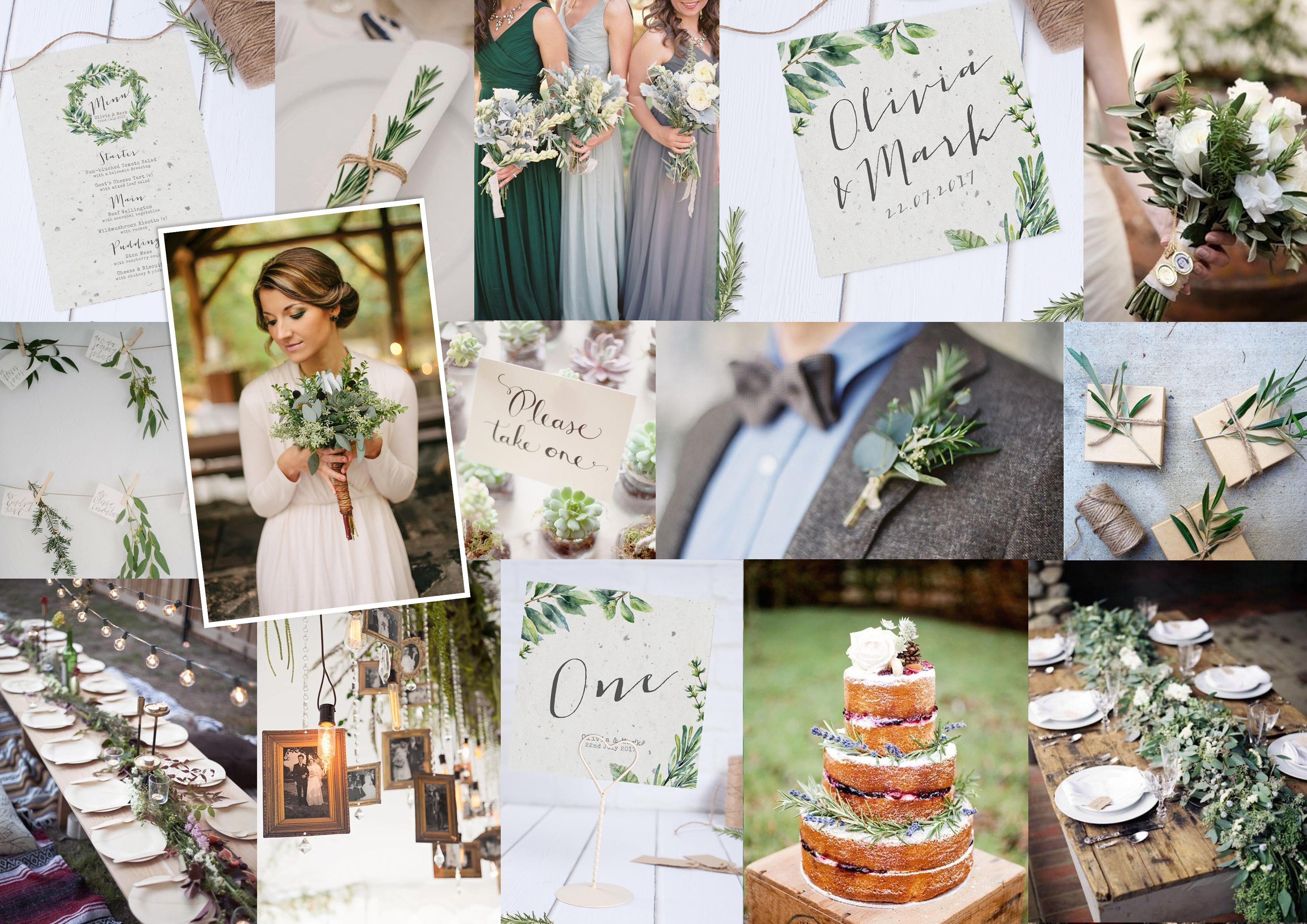 Botanical Garden wedding stationery Moodboard