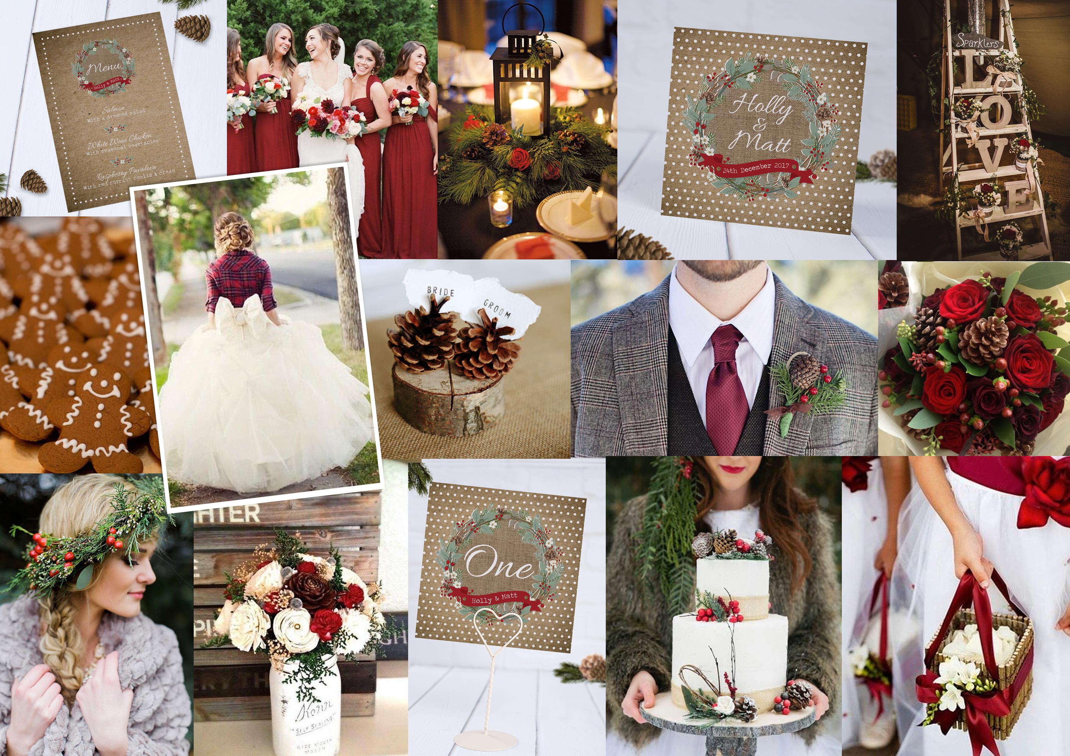 Christmas Wreath Wedding Stationery Moodboard