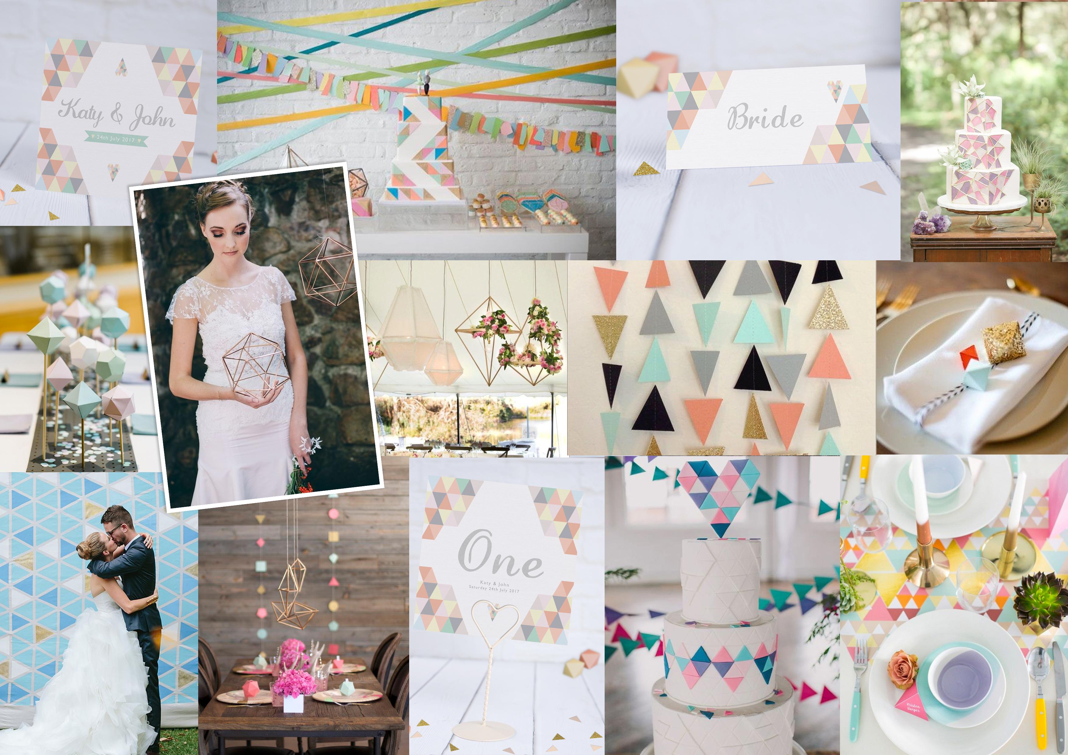 Geometric Pastel Wedding Stationery Moodboard