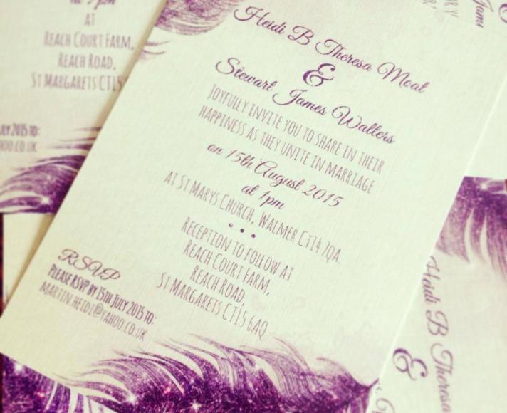 Purple Glitter Feather Wedding Invites