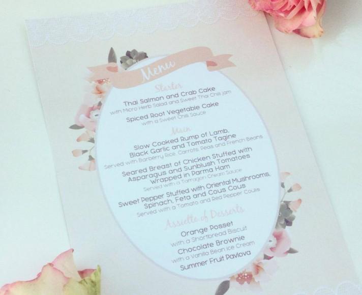 Peach Floral Wedding Menu