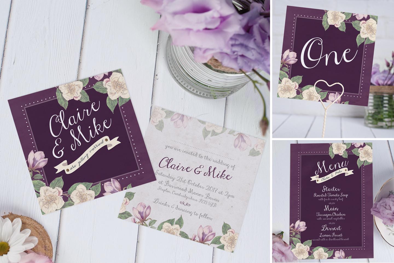 Antique Aubergine Wedding Invitation in Deep Jewel Purple