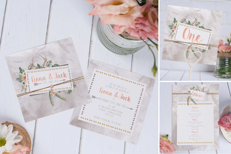 Bohemian Dreams Wedding  Invitation in Soft grey and peach