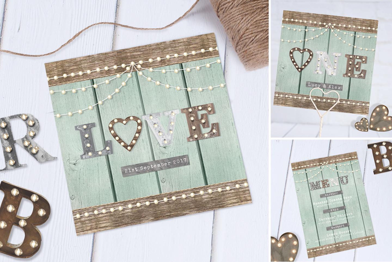 Love Lights Wedding Invitation Design