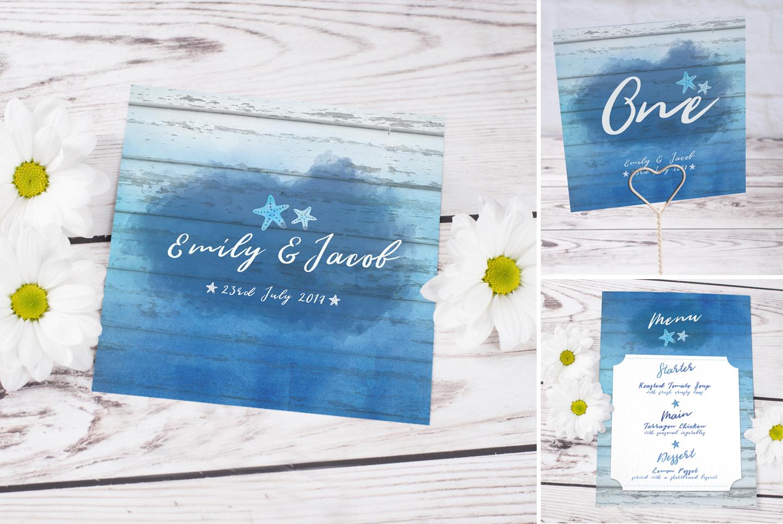 Ocean Ombre Blue Watercolour Beach wedding invitation