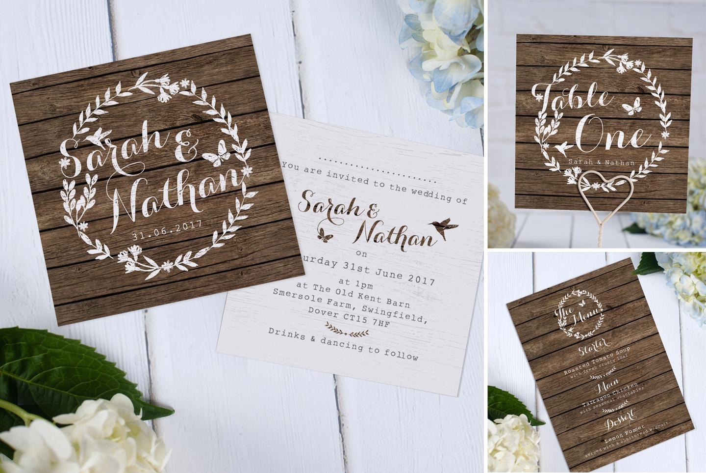 Rustic Barn Wooden Wedding Invitation
