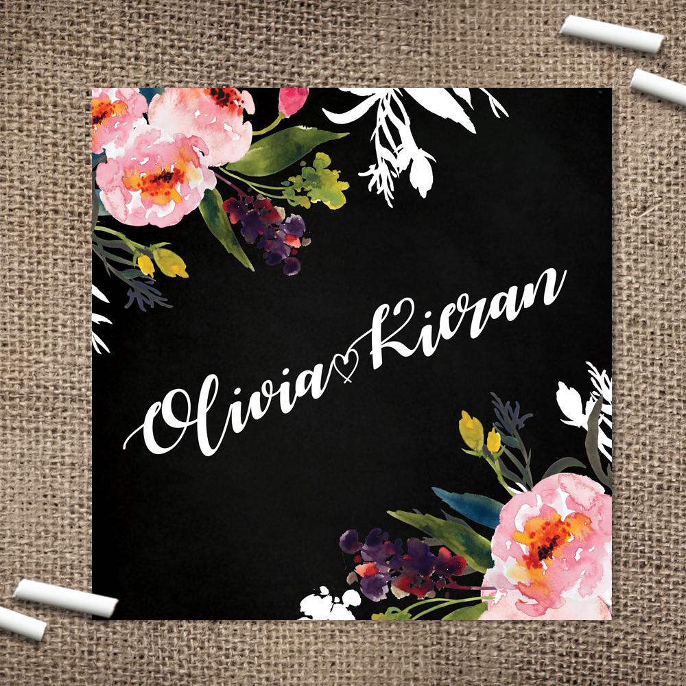 Bright Flowers on Chalkboard Wedding Stationery