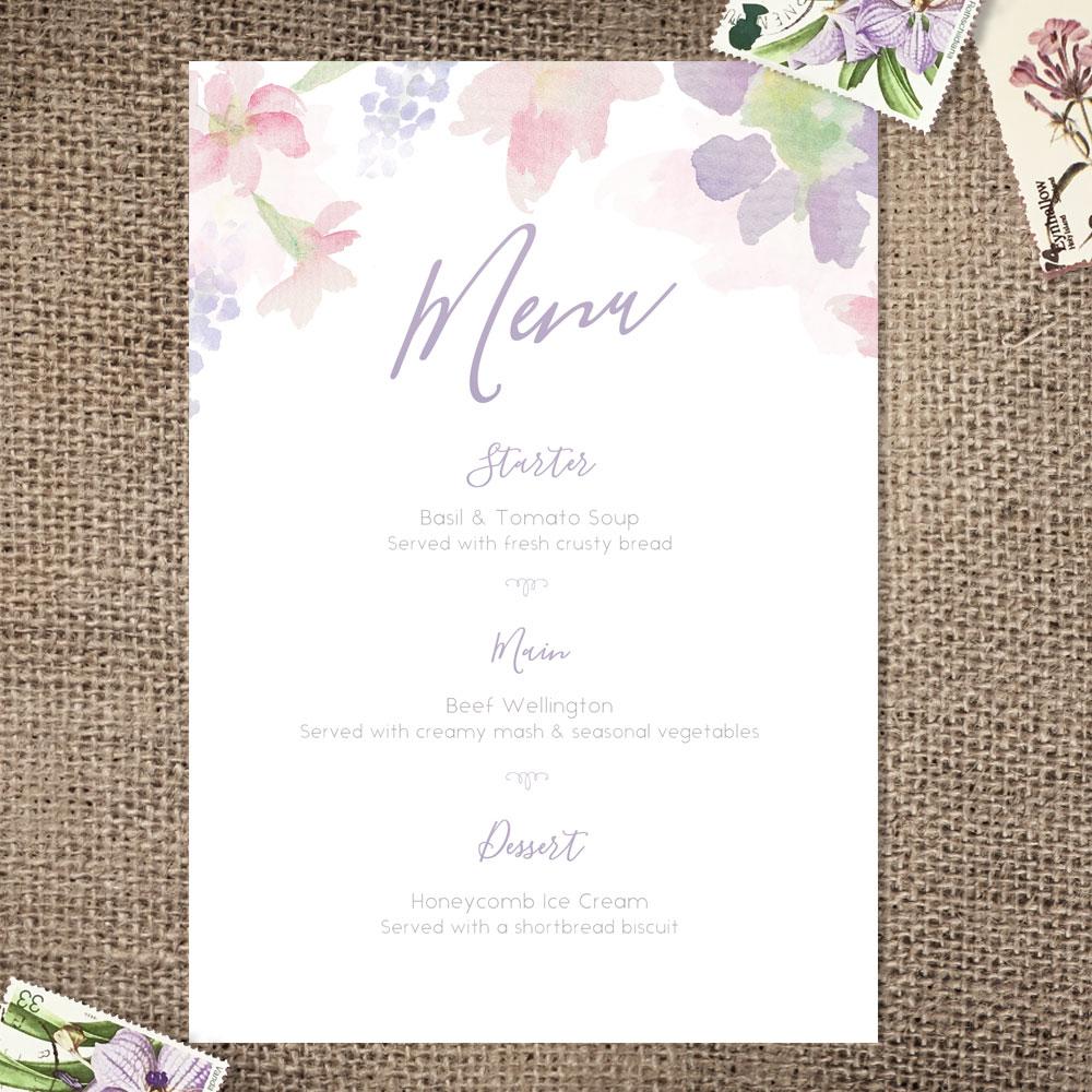 Pastel watercolour floral wedding menu