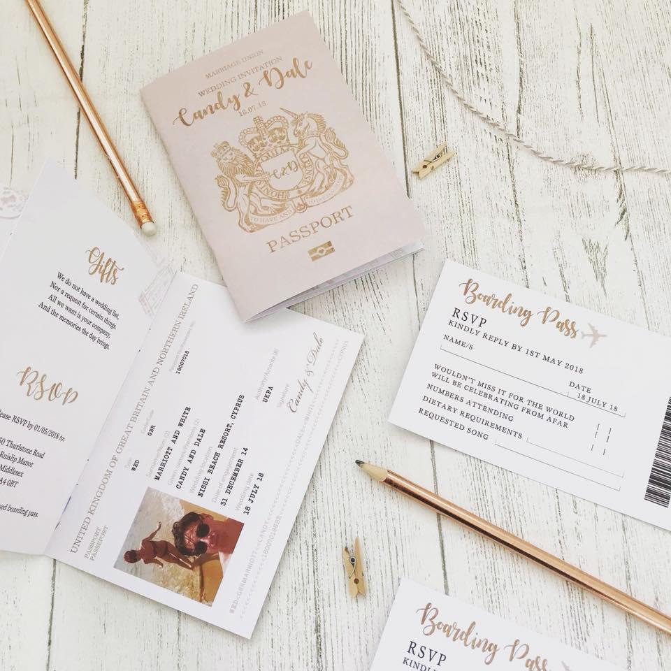 Bespoke Wedding Stationery Passport Wedding Invites