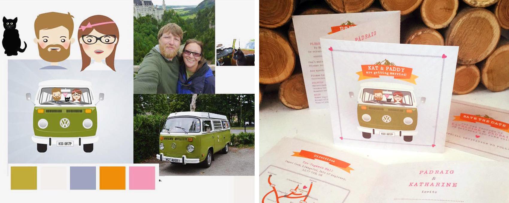 Bespoke wedding stationery - Bride and Groom Campervan Wedding Invite Design