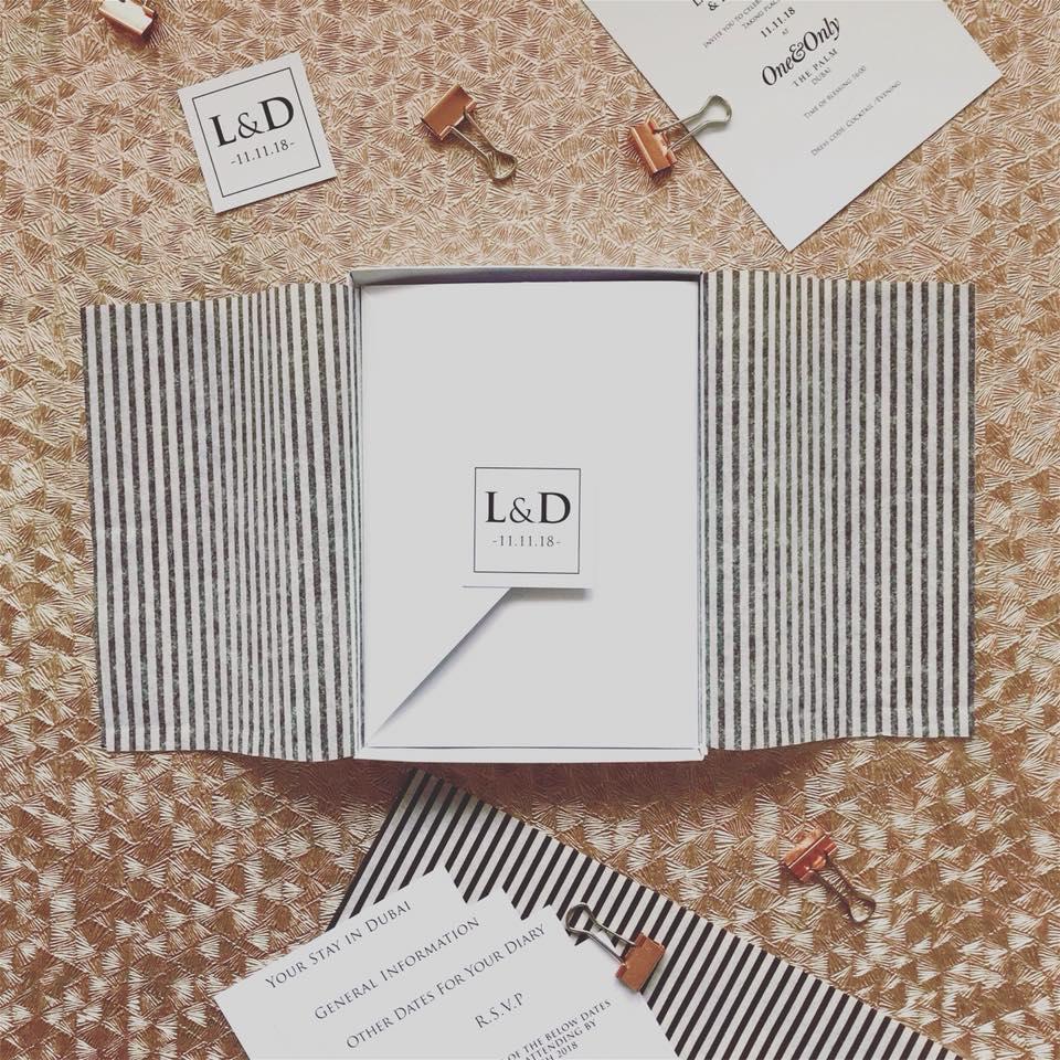 Pocket Fold Wedding Invite Monochrome