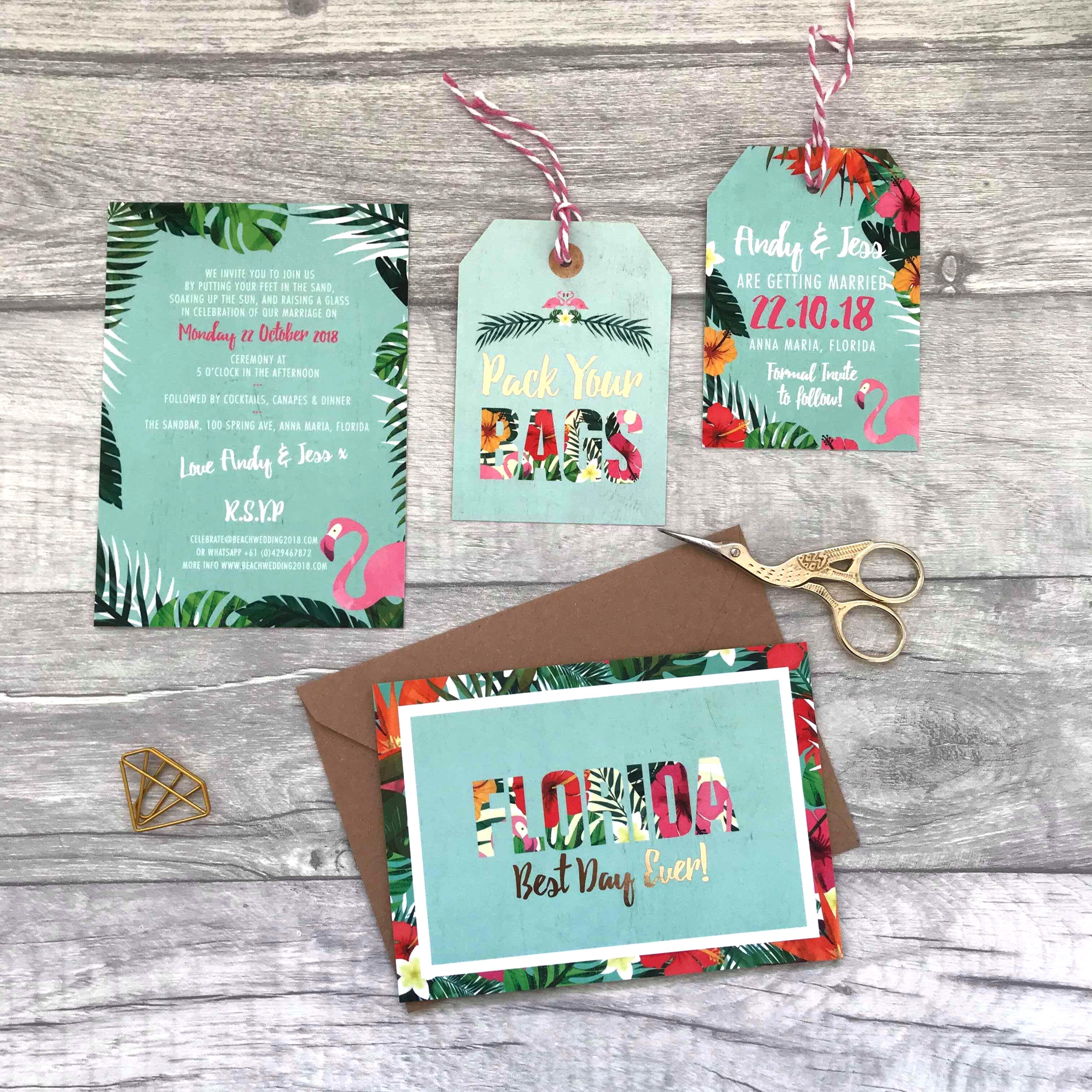 Bespoke Wedding Stationery Tropical Design