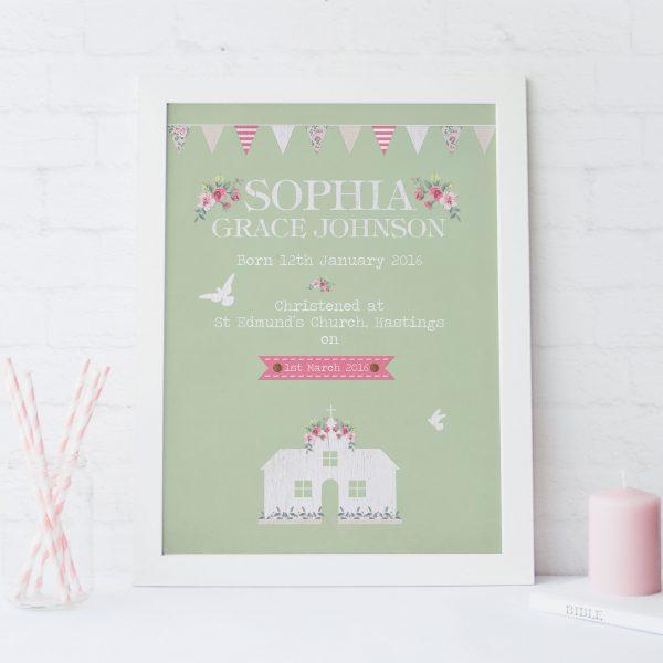 Christening Customised Print | Heart Invites | Beautiful Personalised Wedding Stationery