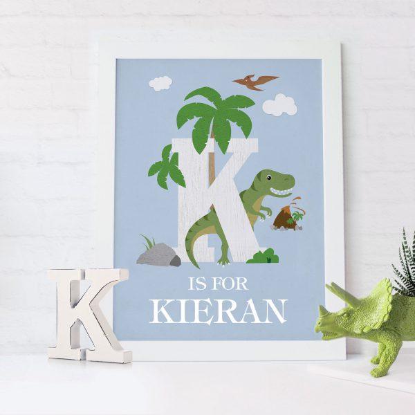 Initial Dinosaur Personalised Print | Heart Invites | Beautiful Personalised Wedding Stationery