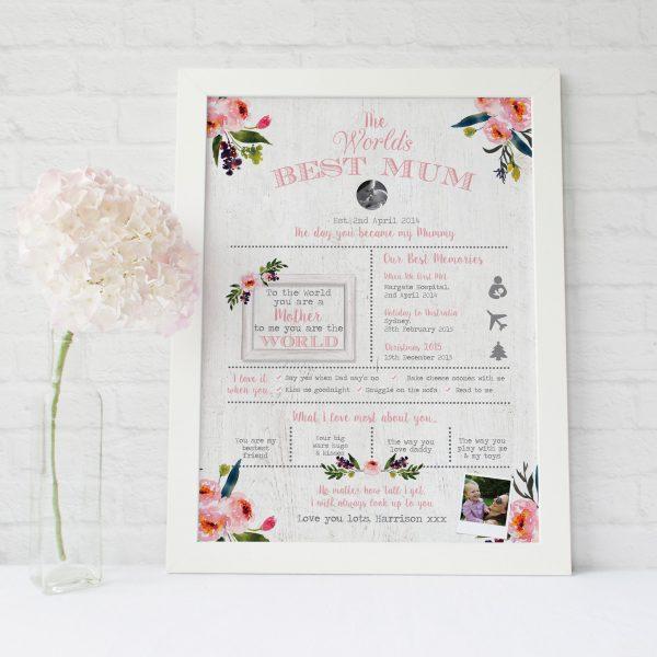World's Best Mum Personalised Print | Heart Invites | Beautiful Personalised Wedding Stationery