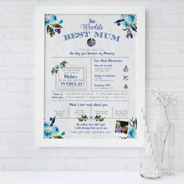 World's Best Mum Personalised Print   Heart Invites   Beautiful Personalised Wedding Stationery
