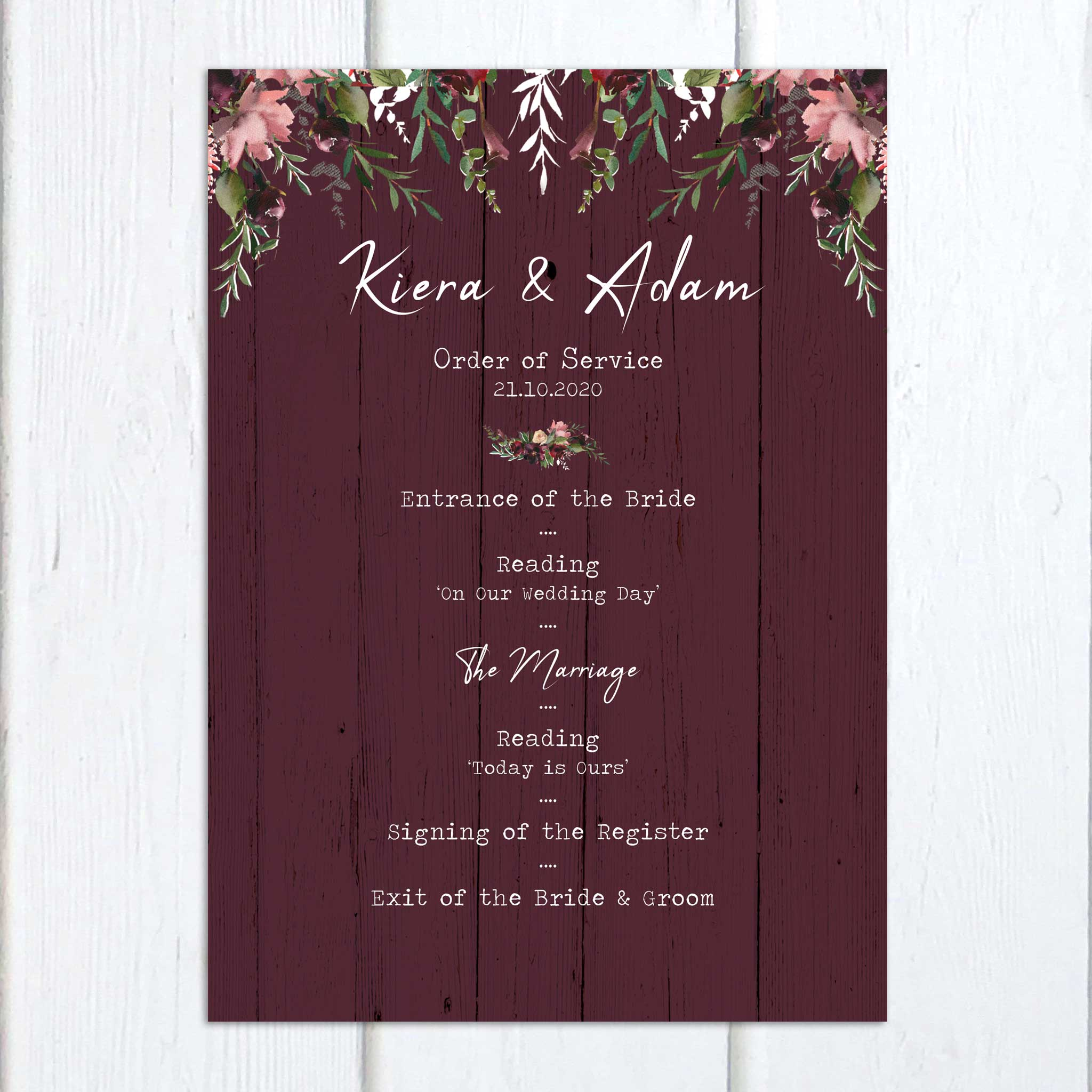Burgundy Bloom On the Day Wedding Stationery | Heart Invites | Beautiful Personalised Wedding Stationery